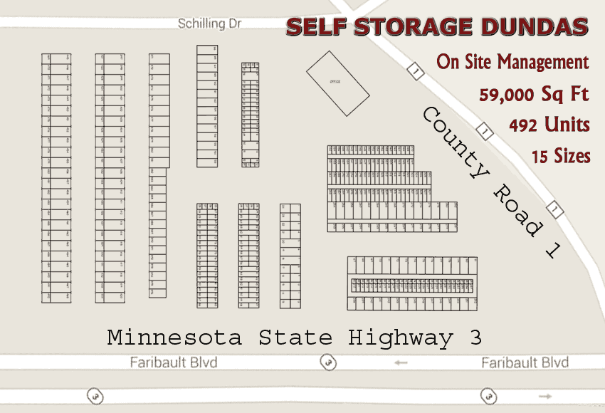At Self Storage Dundas we have 59,000 square feet of storage available in 492 units consisting of 15 different sizes with both interior and exterior access to fit your storage needs.