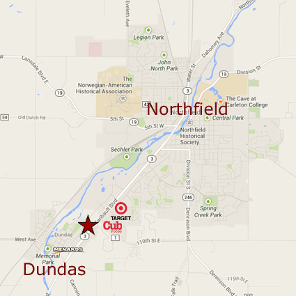 Self Storage Dundas is located at 709 Schilling Drive in Dundas, MN 55019. On the west side of State Highway 3 at Rice County Road 1 on the north end of Dundas, Minnesota, just south of Northfield.